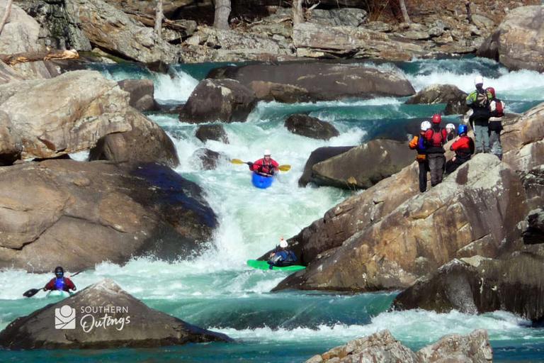 Kayaks at Suicide Rapids